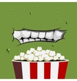 Mouth Monster is ready for eating popcorn vector image