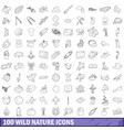 100 wild nature icons set outline style vector image