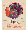 Happy thanksgiving turkey card vector image