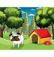 A white bulldog with a dog food outside his dog vector image vector image