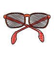 color crayon stripe sunglasses with red contour vector image