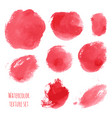 set of red pink watercolor hand painted texture vector image