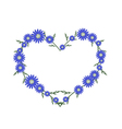 Beautiful Blue Daisy Flowers in Heart Shape vector image