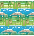 Europe travel coloured seamless pattern vector image