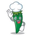 chef green chili character cartoon vector image