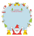 Christmas Frame Santa Claus and Reindeer Line Icon vector image