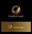 golden leaf organic beauty logo vector image