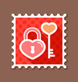 key and lock in heart shape stamp vector image