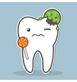 Tooth attacked by microorganism vector image