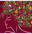 Women head profile with floral hair vector image