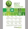 An Elegant 2017 Green Calendar vector image