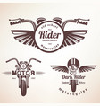 set of vintage motorcycle labels badges and vector image