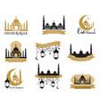 set of emblems for islamic holy holiday ramadan vector image