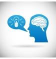 Headmind Brain in Head Silhouette Generate Lamp vector image