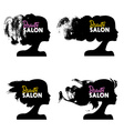 Set of beautiful girl silhouettes Logo collection vector image