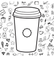 doodle coffee cup with objects hand drawn vector image