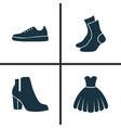 garment icons set collection of female winter vector image