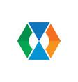hexagon arrow collored business logo vector image
