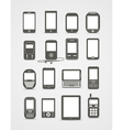 Modern and vintage mobile gadgets vector image