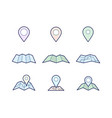 navigation map and pin icons vector image
