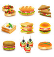 sandwiches icons set vector image