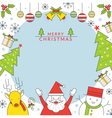 Christmas Characters Frame Line Style vector image
