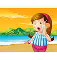 A fat woman holding an orange juice at the beach vector image vector image
