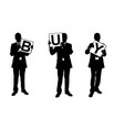 silhouettes of businessmen holding panels vector image vector image