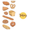 bakery hand drawn background with fresh bread vector image