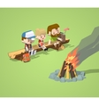 Low poly rough wooden bench and the campfire vector image