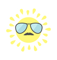 Sun shining icon Sun face with sunglassess and vector image