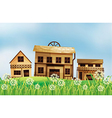 A set of wooden houses vector image