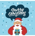 Funny Santa Claus with a gift wishes you Merry vector image