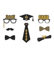 Graduation elements set Gold black flat vector image