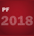 red happy new year pf 2018 from little snowflakes vector image