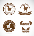 Set of an chicken and eggs label vector image