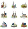 Travel destinations icon set vector image