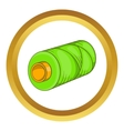 Green bobbin of thread icon vector image