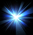 Star with rays white blue in space isolated and vector image