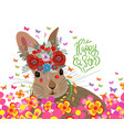 happy easter with rabbit flower and butterflies vector image