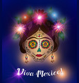 day of the dead skull in traditional mexican style vector image