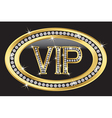 Vip gold label with diamonds vector image