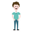 cute man with hairstyle and casual clothes vector image