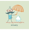 actuary holding an umbrella over the house vector image
