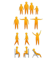 human silhouettes making moves and sitting down vector image