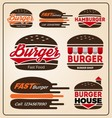 Set of burger shop icon logo design For branding vector image