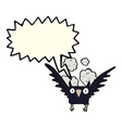 cartoon spooky bird with speech bubble vector image