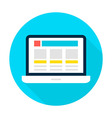 Laptop Landing Page Flat Circle Icon vector image