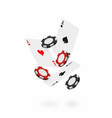 falling cards and chips falling poker aces with vector image
