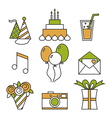 Holiday icons happy birthday set vector image